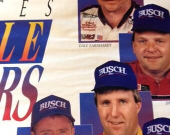 Racing Poster.  Busch Beer 1994 Nascar Poster.  Busch Beer Solutes the Pole Winners.  Dale Earnhardt, Mark Martin, Jeff Gordon, Ricky Rudd