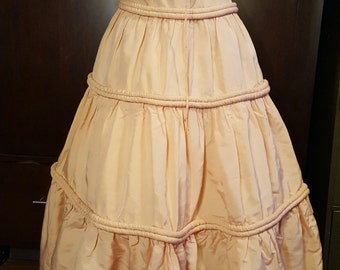 1940s Taffeta Creamy Pink Formal Dress Vintage