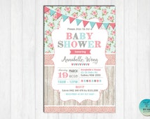 SHABBY CHIC Baby Shower Invitation. Floral Baby Shower DIGITAL Invite. Vintage Rose Lace. Wood Baby shower Invitation. Flower Baby Girl SC1