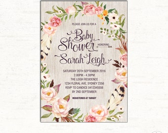 FLORAL Baby Shower Invitation. Bohemian Baby Shower Invite. Boho Watercolor Flowers. Rustic Baby Shower DIGITAL Invite. Roses. FLO11