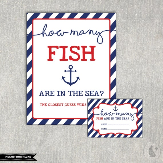 Guess How Many Fish Are In The Sea Printable. Nautical Baby Shower Game.  Anchor Baby Games. Navy And Red Boys Shower. INSTANT DOWNLOAD. NAU1