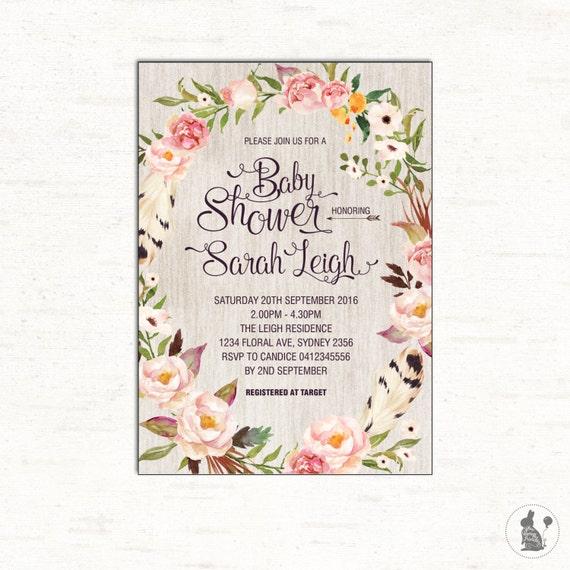 Floral baby shower invitation bohemian baby shower invite boho il570xn filmwisefo