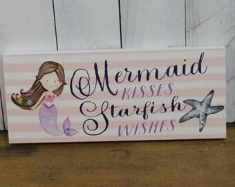 Mermaid Kisses/Starfish Wishes/Beach Decor/Beach House Decor/Girl Room Decor