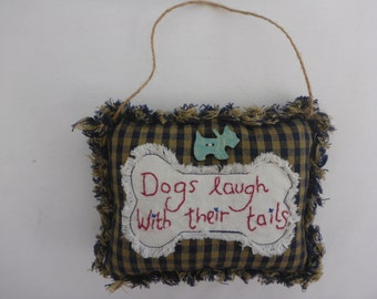 Dog lovers door hanger. Appliqué dog bone, embroidery and wooden dog button.