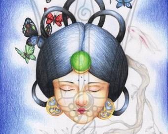 "Original Colored Pencil Illustration - ""CHANG'E""  Ancient Lunar Chinese Goddess Butterflies Rabbit"