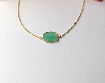 GENUINE Green Chalcedony Gold Necklace.