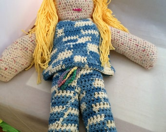 Sally a therapeutic dress up crochet cotton doll handmade 19""