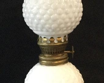 Vintage Hobnail Milk Glass Miniature Oil Lamp