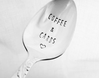 Coffee & Carbs with a Heart Hand Stamped Spoon, Vintage, Silverplate, Stamped Spoon, Coffee Spoon, Coffee Gift, Carb Lover, Carbohydrates