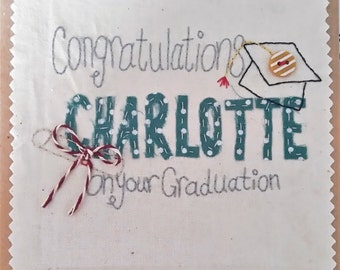 Graduation Card. Personalised Graduation Card. Cap and Scroll. Name added. Hand Stitched Card.
