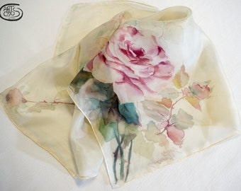 100% natural silk scarf - 06 Ponge, handpainted. Roses with leaves-pink multicolor. 88 x 88 cm.