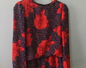 Rose-bud Paisley Print Dress