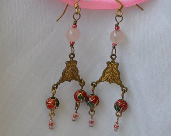 Victorian style rose quartz and cloisonne beaded dangle earrings, brass stamping, copper