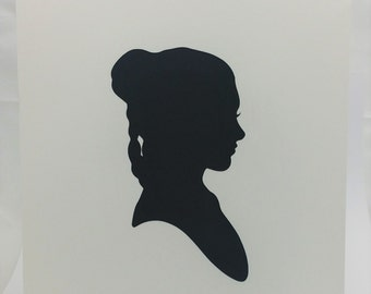 "Leia Star Wars Inspired Cut Paper Silhouette Portrait 8"" x 10"" Cut Out Art Portraits"