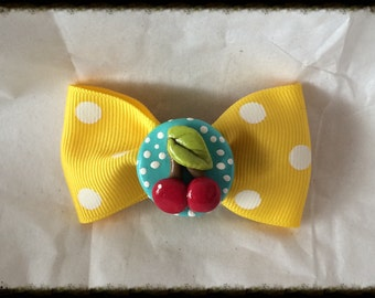 Yellow and White Polka dots Cherry Pinup Hairbow