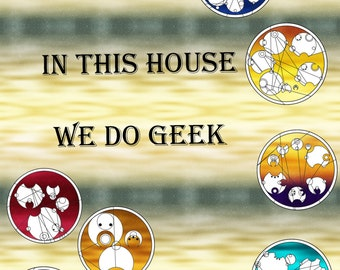 In this house we do geek in circular Gallifreyan  Cross Stitch Doctor Who