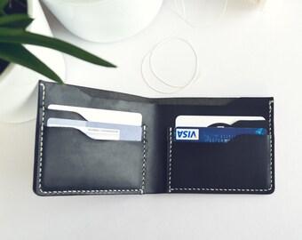 Slim Wallet in BLACK leather | Bifold wallet