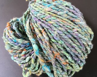 "Skein of Merino Wool dyed and spun by hand. ""Spring"""