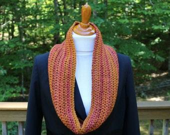 Fall Colors Cowl, Crochet Cowl, Orange Gold, Cowl, Winter Cowl, Winter Fashion