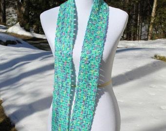 Skinny Crochet Scarf, Long Crochet Scarf, Teen Scarf, Crochet Scarf, Multicolor Scarf