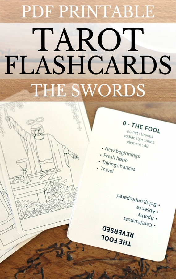 Revered image inside printable tarot flashcards