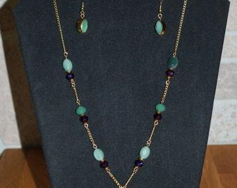 Seafoam green and purple fashion necklace