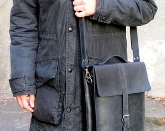 Leather Handbag, leather Messenger Bag black, Vintage Handmade handbag, mens leather messenger bag