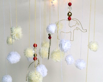 Baby Mobile - Nursery Mobile - Pom Pom Mobile - Wire Elephant Mobile - Dream Catcher