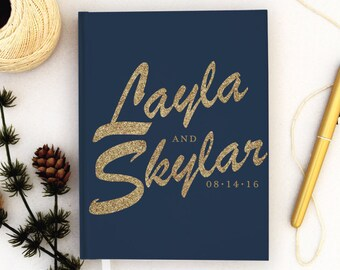 Wedding Guest Book Personalized Gold Guest Books Custom Guestbook Modern Wedding Gold Glitter Script Wedding - navy