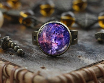 Violet Nebula ring, Purple Nebula ring,Space ring, Galaxy Jewelry, Nebula ring, antique brass ring, Violet ring
