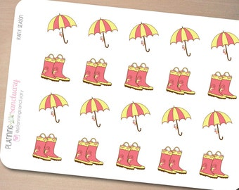 Rainy Season | Umbrella | Rain Boots Planner Stickers Perfect for Erin Condren, Kikki K, Filofax and all other Planners