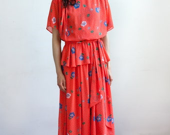 Vintage 70's Floral Pattern Elastic Waist Midi Dress