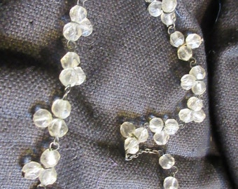 Edwardian crystal bead necklace, choker, Downton abbey, 1910's. simple and classic, feminine, antique,