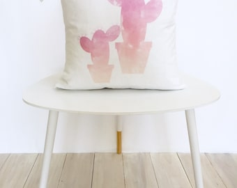 Pink Cacti - Watercolor Pillow