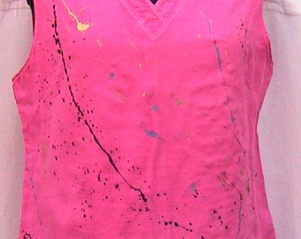 Size Medium Hand painted hand dyed Cotton Sleeveless Top (Never Worn!)
