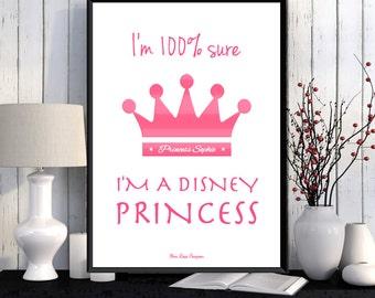 Disney print, Disney quote, Girl room wall decor, Disney princess, Poster children, Kids decor, Room art girl, Nursery print, Girl gift idea