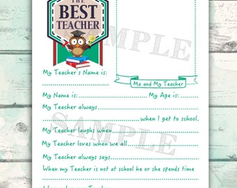 Teacher Gift, Cute Teacher Questionnaire for Kids, Best Teacher Printable, Teacher keepsake interview for kids, Printable thank you gift