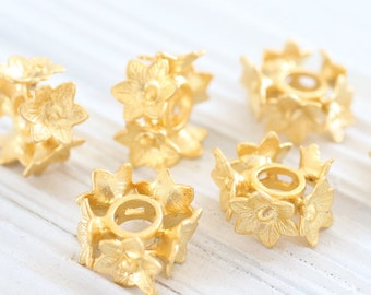 3pc gold spacer beads, slider beads, large hole beads, gold large spacers, rustic beads, bead spacer, flower beads, gold sliders,gold flower