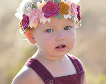 Boho Baby Flower Crown, Boho Flower Crown, Floral crown, fall flower crown, flower halo, Pink Flower Crown, Flower Girl Crown, Flower Halo,