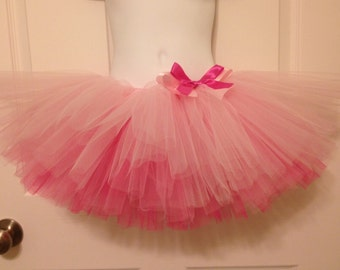 Pink ombre infant baby toddler tutu skirt with a bow