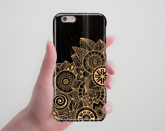 Black Case Gold Floral Wooden Case Designed Phone Case iPhone 6S Case iPhone 7 Case iPhone 5S Case iPhone 7 6S Plus Case Tough Case RR_023
