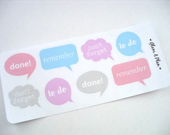 8 Speech Bubbles Stickers | Erin Condren Filofax Happy Planner