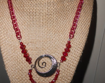 pink chain ruby colored glass beaded necklace
