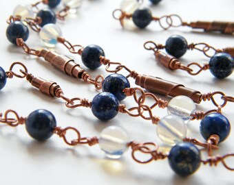 Lapislazuli Necklace. Day and Night Copper Neclace with Moonstone and Lapislazuli Stones