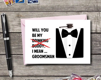 Will you be My Groomsman Card, Usher, Best Man, Funny Groomsmen card, Wedding party cards, Ring bearer Card, Funny best man card