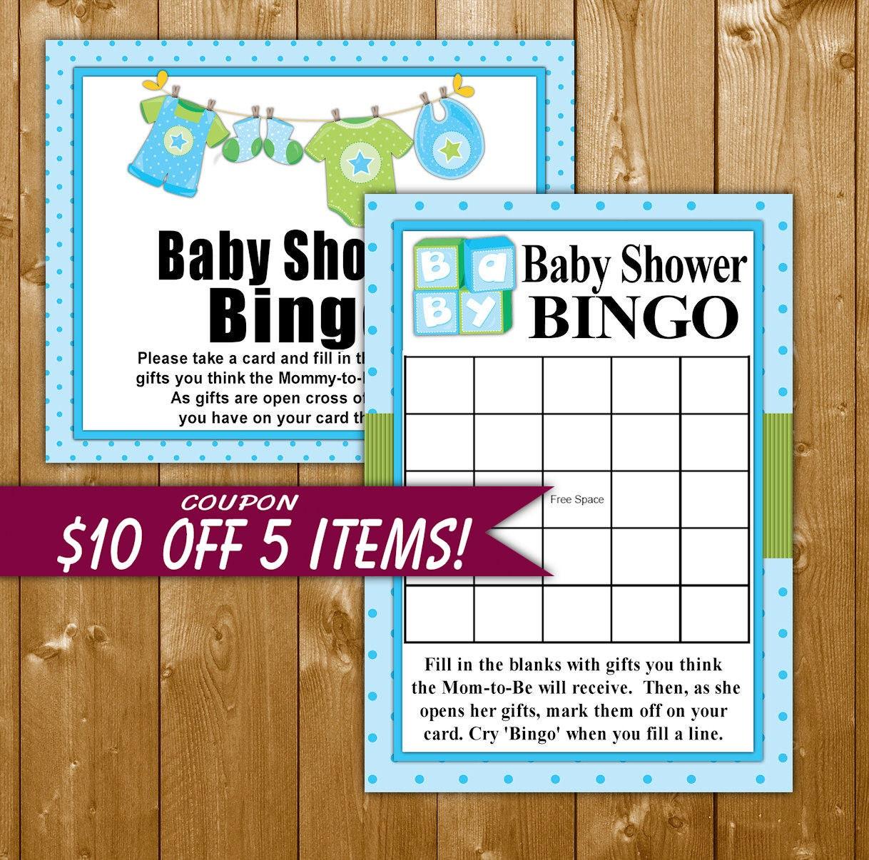 Boy BINGO Baby Shower Bingo Games Oh Boy Game Blue Shower