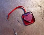 Red hanging heart decoration fused glass suncatcher lightcatcher love token wedding favour Valentine's gift stocking filler good luck charm