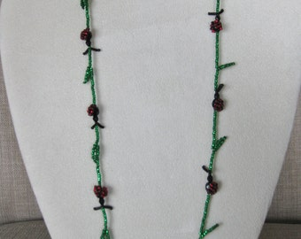 Hand Beaded Ladybug Necklace and Earrings Set - Proceeds to Charity