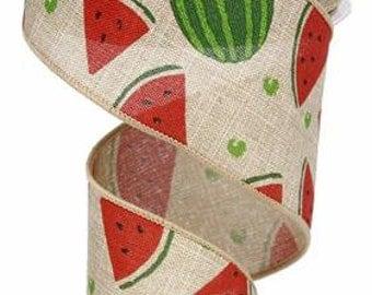 "2.5""X 10 yards Watermelon Slices On Royal Natural/Pink/Green RG0121918"