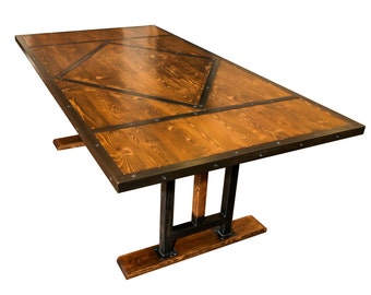 Steel and wood dining table, industrial, handmade, vintage, rustic, farmhouse, medieval look and feel with beautiful dark metal patina
